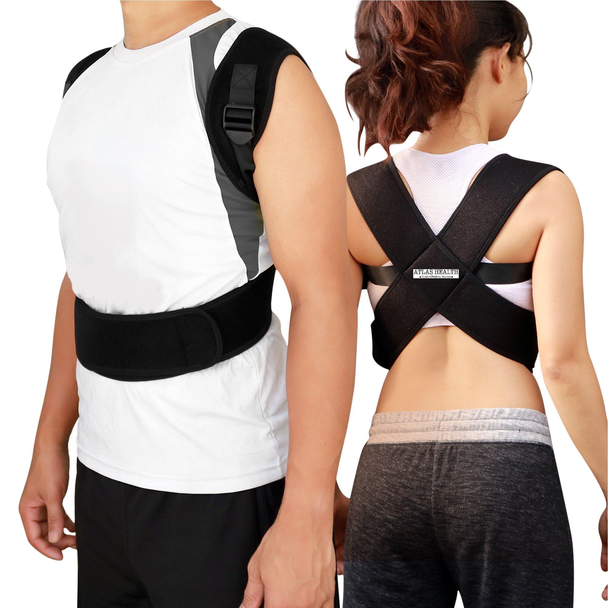 Atlas Health Ultimate Posture Corrector & Resistance Band Set For Men & Women - Align Your Spine & Relieve Back Pain - Soft, Lightweight, Breathable Neoprene for Comfort - Discreet Adjustable Design