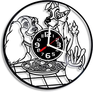 BroStore Decor Clock Compatible with Lady and The Tramp Vinyl Wall Clock, Cartoon, Clock for Children's Room, Wall Clocks for Different Types of Rooms and Premises, Art, Gift for Any Occasion