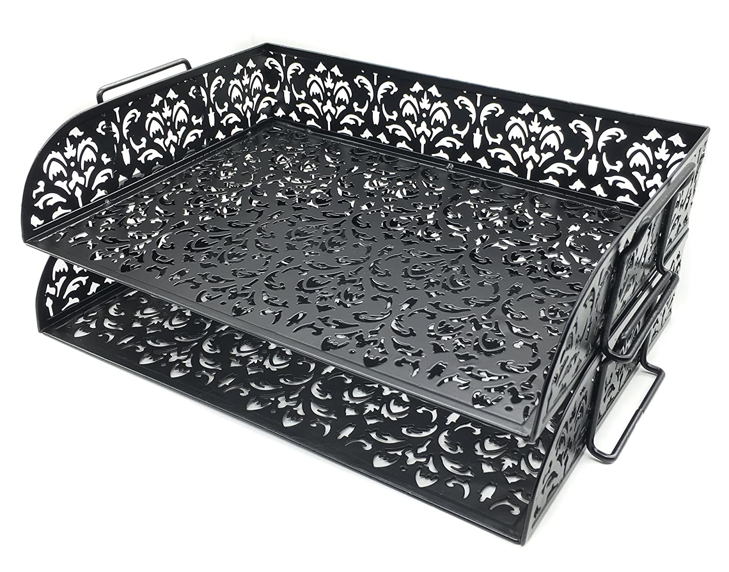 EasyPAG Carved Hollow Flower Pattern 2 Tier Desk Letter Tray,White 20151217001