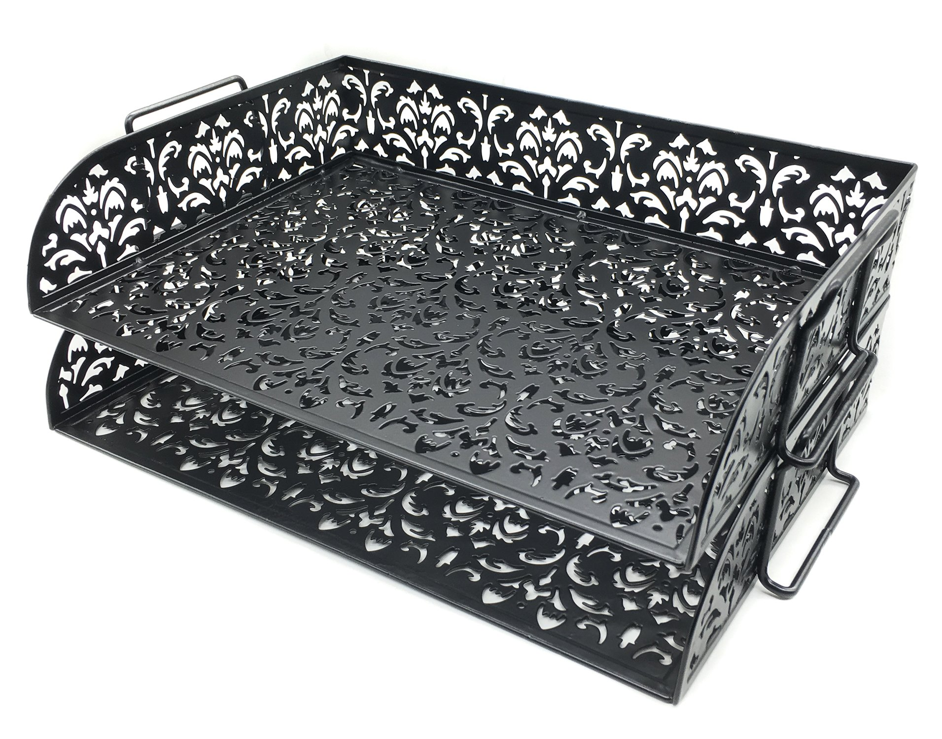 EasyPAG Carved Hollow Flower Pattern 2 Tier Desk Letter Tray,Black