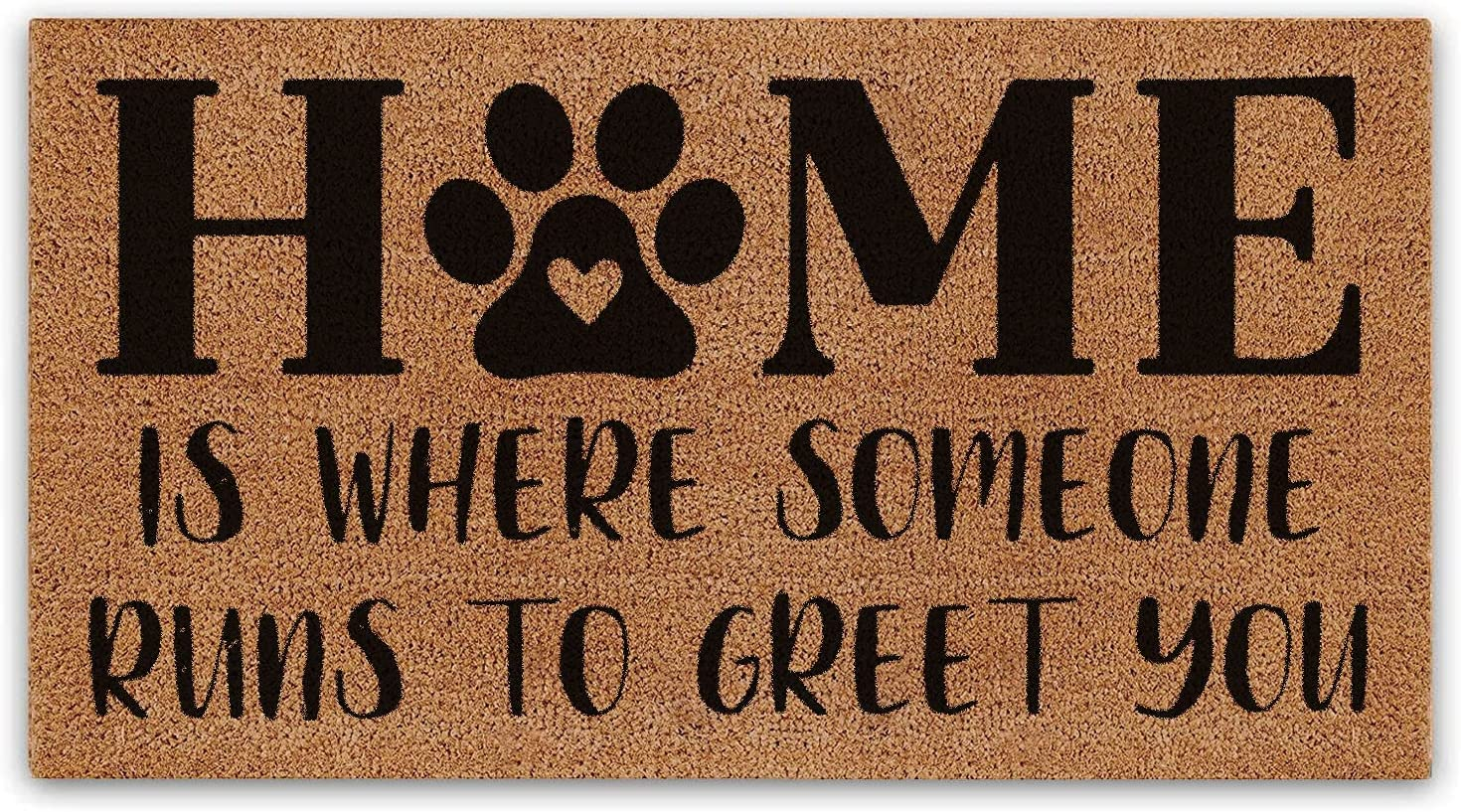 BasicForm Front Door Mat Outdoor, Coco Dog Mat Doormats Rugs for Outside Entry Muddy Paws ,Funny Gift for Dog Lover, 17'x30' Size, Home is Where Someone Runs to Greet You