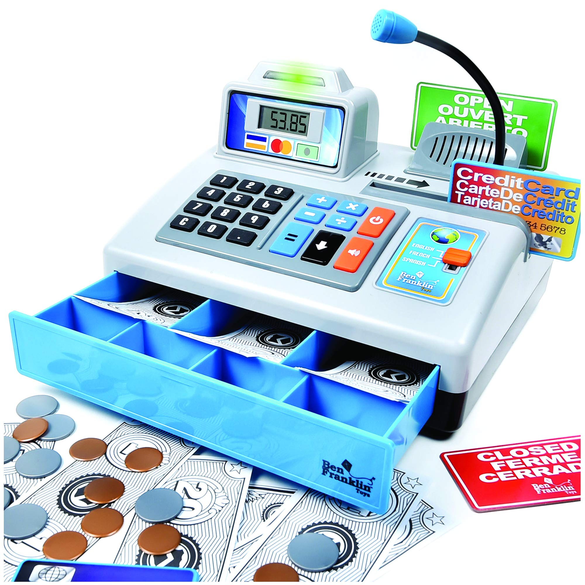 Ben Franklin Toys Talking Toy Cash Register - STEM Learning 69 Piece Pretend Store with 3 Languages, Paging Microphone, Credit Card, Bank Card, Play Money and Banking for Kids, Silver by Ben Franklin Toys