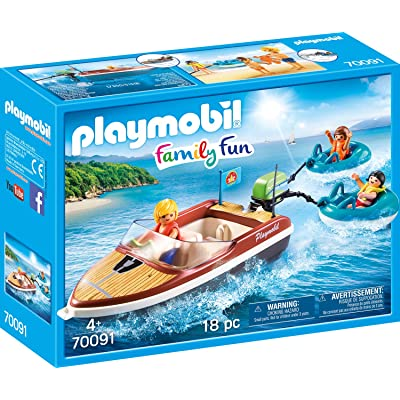 PLAYMOBIL Speedboat with Tube Riders Playset: Toys & Games