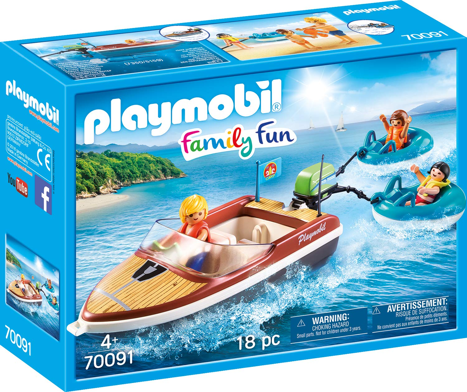 PLAYMOBIL Speedboat with Tube Riders Playset