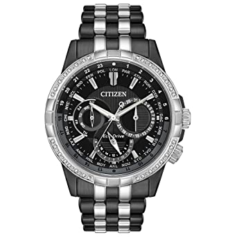 Calendrier Case.Citizen Men S Calendrier Diamond 44mm Steel Case Eco Drive