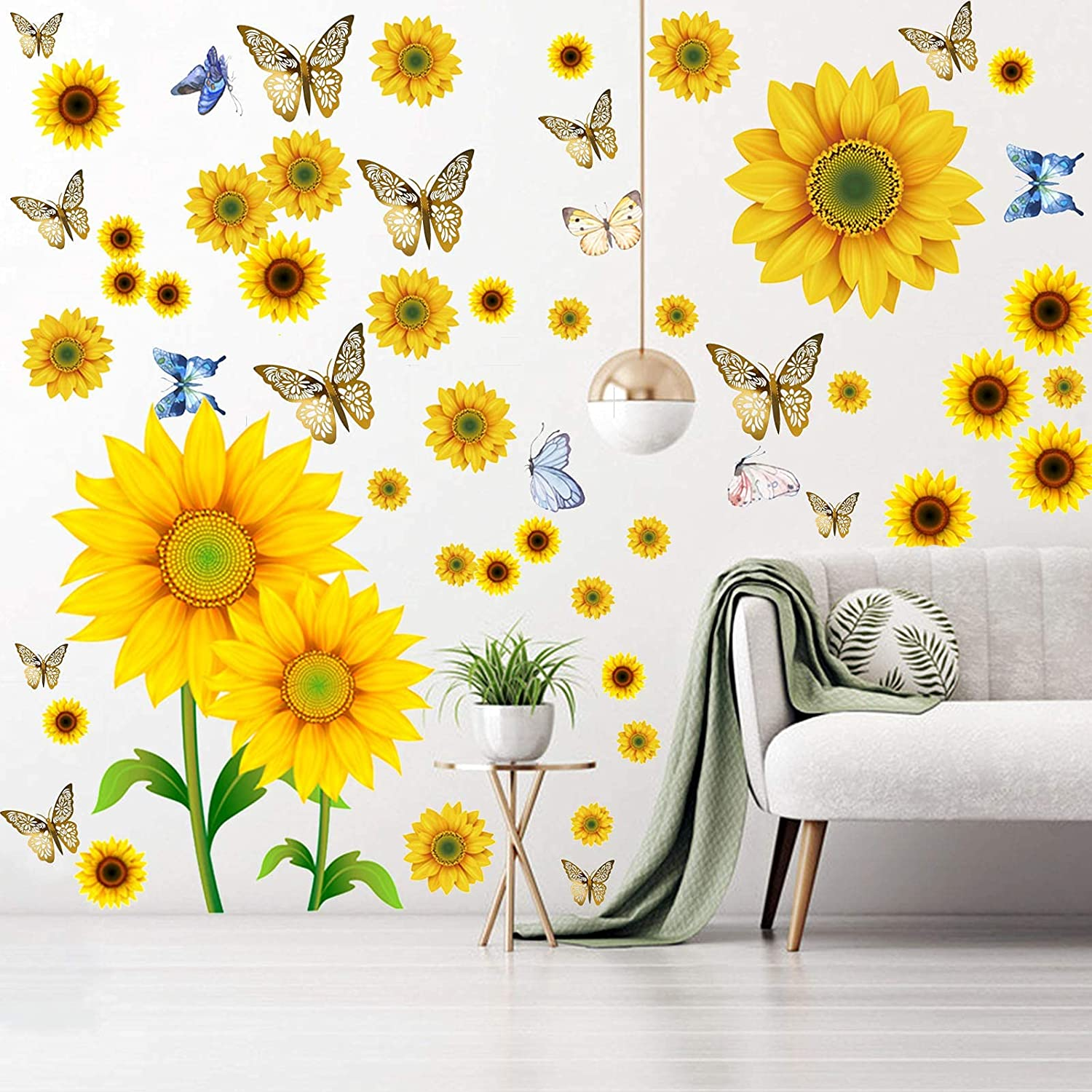 100Pcs Sunflower Wall Stickers with 3D Metallic Hollow-Out Butterfly, EsLuker.ly Removable Vinyl DIY Yellow Flower Mural Decor Daisy Floral Decals for Living Room Bedroom Nursery Decoration