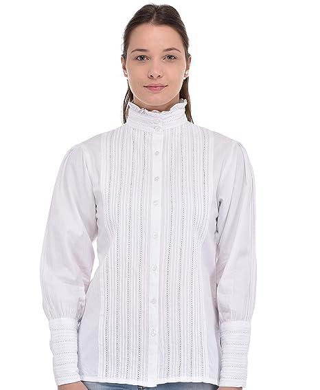 Accesorios Lane Ropa Amazon Victoriana es Y Blanca Blusa Cotton 4BSqw7TS