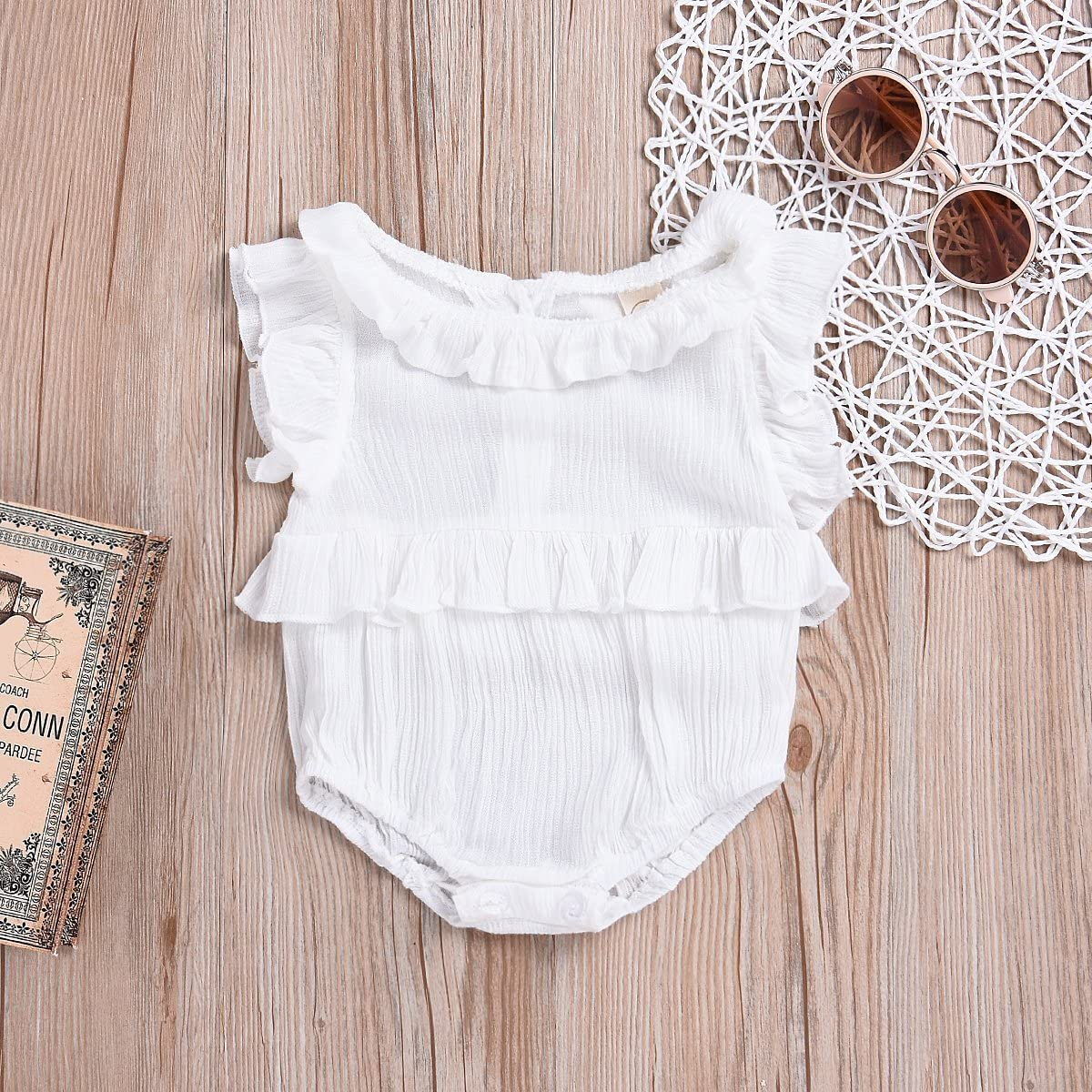 Hopiumy Infant Baby Girl Clothes Sleeve Romper Bodysuit Jumpsuit Outfit 0-24M