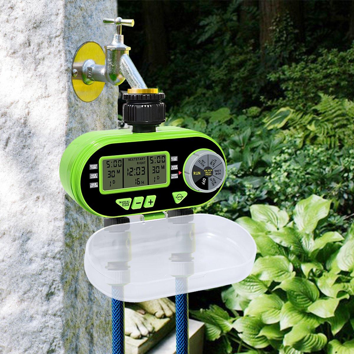 Temporizador de Riego Automatico con Dos Salidas Programador de Riego Autom/ático con Pantalla LCD para el Invernadero de Patio de jard/ín