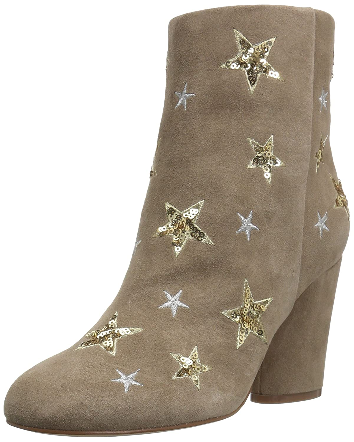 The Fix Women's Nash Star Sequin Oval Heel Ankle Bootie B01MYDNGUO 7.5 B(M) US|Mushroom