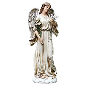 Roman 63653 Josephs Studio Lily Flowers Angel with Dove Textured Concrete Look Resin Outdoor Garden Statue, 9 x 24.5