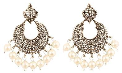 f894b080de Touchstone Bollywood indien désir tribal boho chic lune chandbaali thème  perles rouges concepteur boucles d'oreilles pour femme