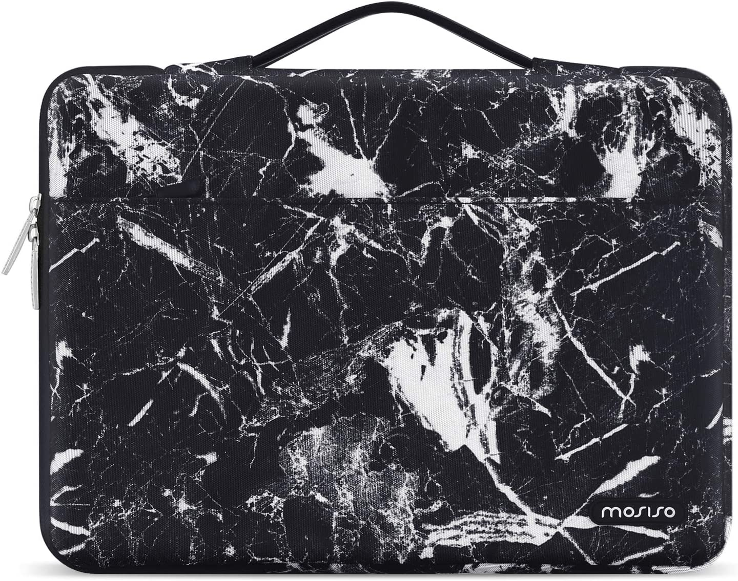 MOSISO Laptop Sleeve 360 Protective Case Bag Compatible with 13-13.3 inch MacBook Pro, MacBook Air, Notebook, Polyester Pattern Shockproof Handbag with Trolley Belt, Black Marble