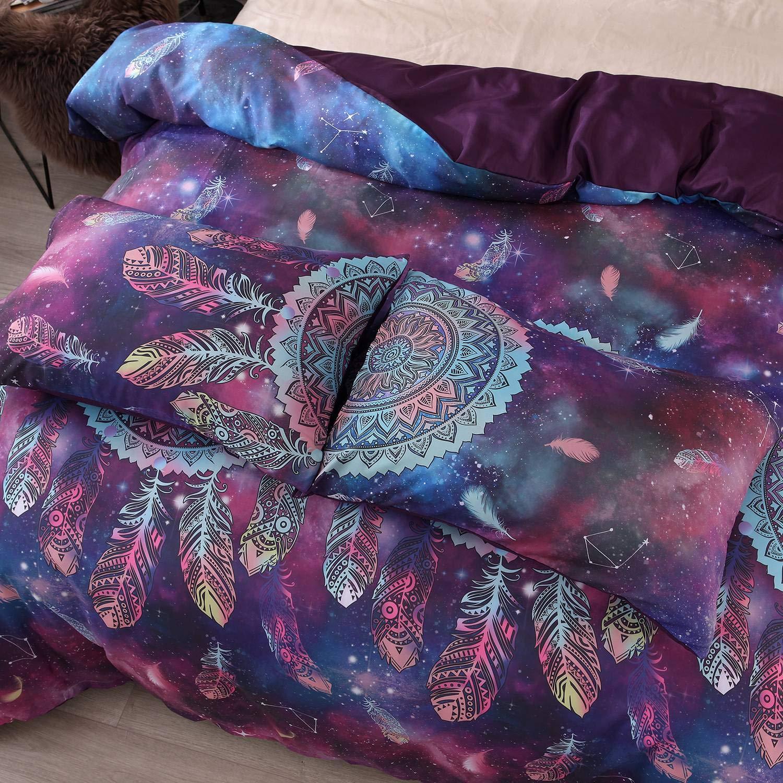 1 Taie doreiller 50 x 70 cm Linge de Lit Imprim/é Indien Multicolore Ensemble de Literie Dreamcatcher D/écoration Parure de Couette Attrape Reves 1 Housee de Couette 140 x 200 cm