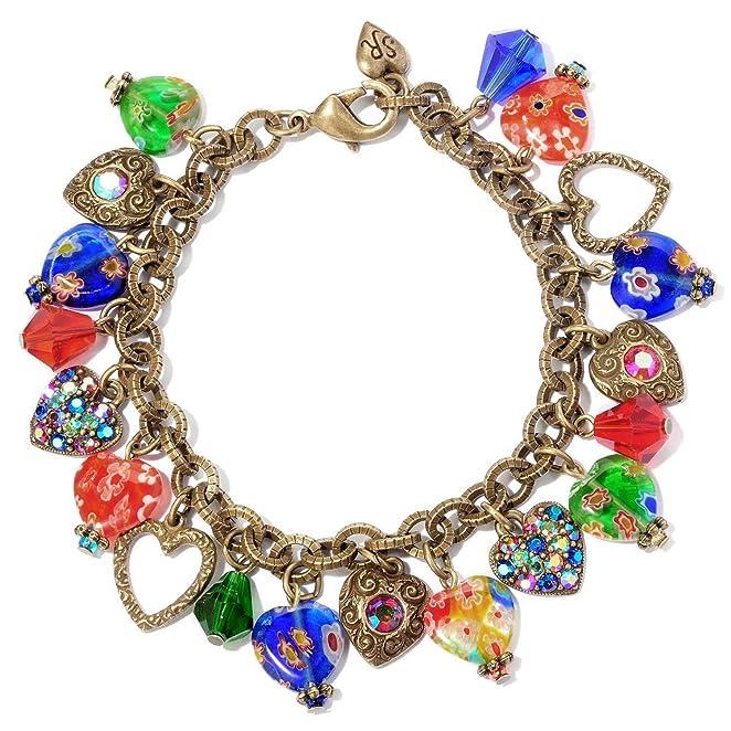 1960s Costume Jewelry – 1960s Style Jewelry 1960s Heart Bracelet Heart Jewelry Charm Bracelet Rainbow Bracelet Millefiori Bracelet $39.00 AT vintagedancer.com