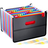 26 Pockets Accordian File Folder Organizer,Portable Expanding Filing Box with Mesh Bag Design,Accordion Plastic Folders…