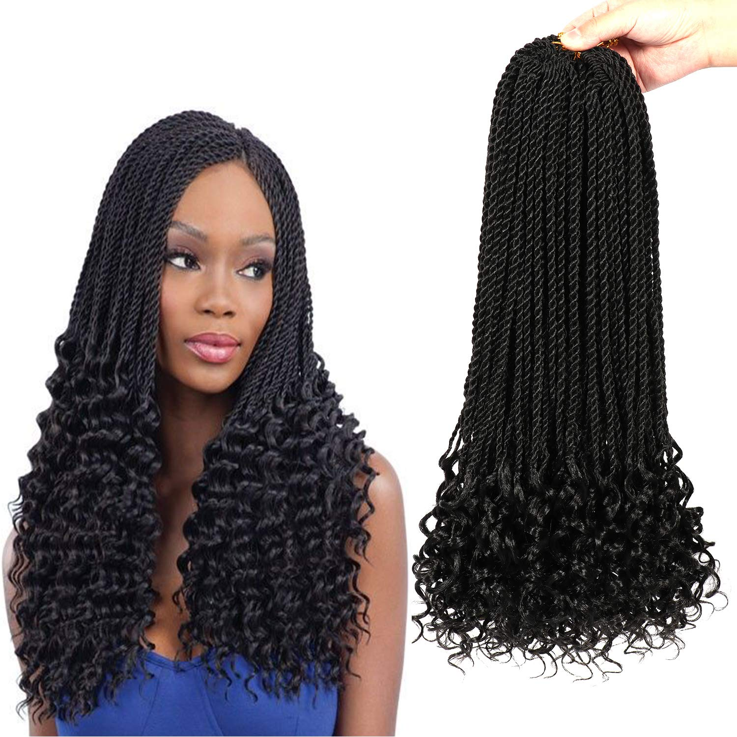 7 Packs Senegalese Twist Hair With Curly Ends 18 Inch Crochet Hair Synthetic Kanekalon Fiber Braiding Hair Extension Synthetic Crochet Braids Hair 24