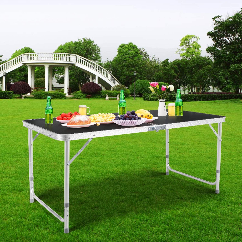 Homfa Campingtisch Klapptisch faltbar Gartentisch aus Aluminium Falttisch h/öhenverstellbar 120x60cm schwarz wei/ß blau