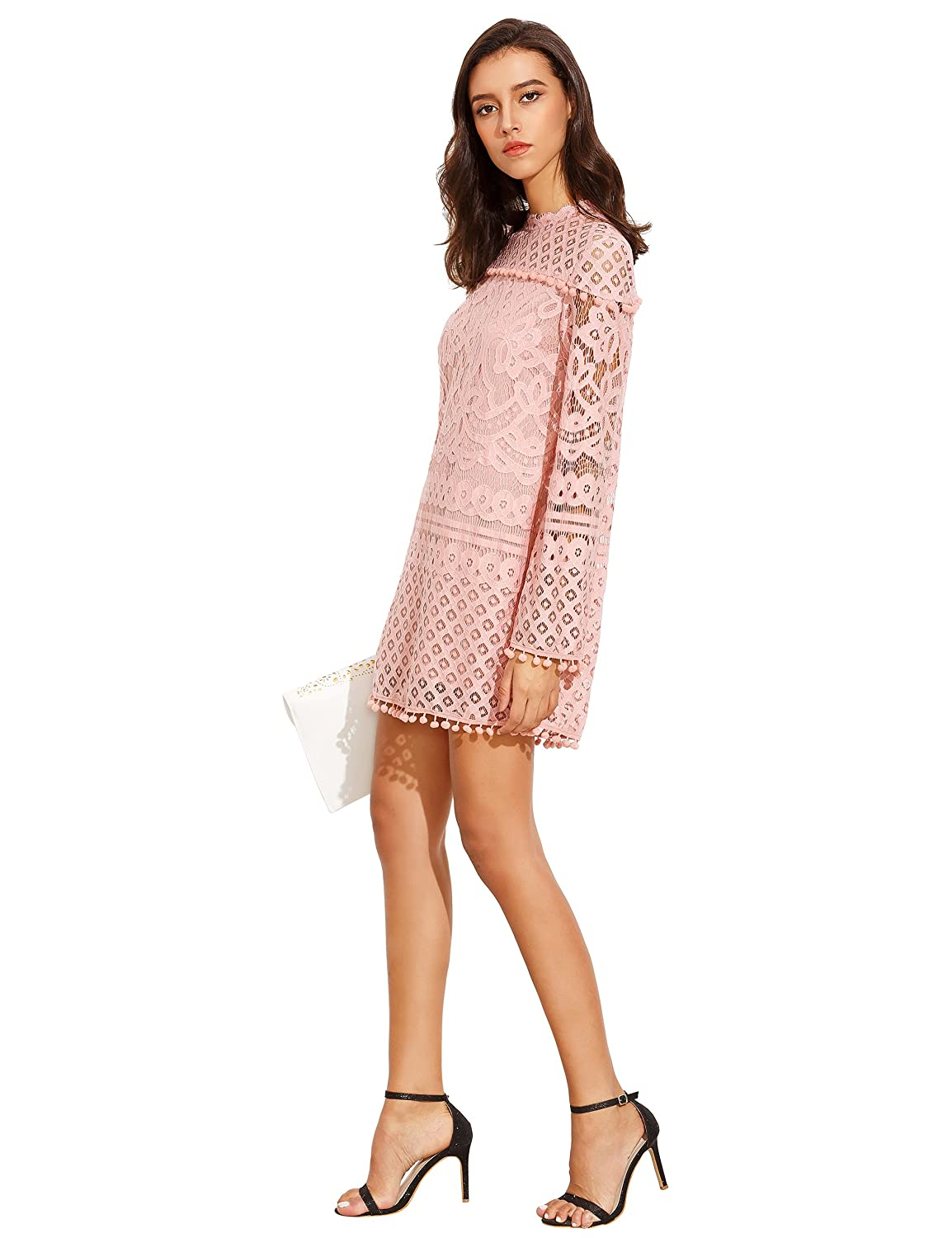 d03ae45793 SheIn Women s Crochet Pom-Pom Sheer Lace Bell Sleeve Dress at Amazon Women s  Clothing store