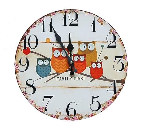 Family First búho reloj de pared 30 cm Reloj de cocina