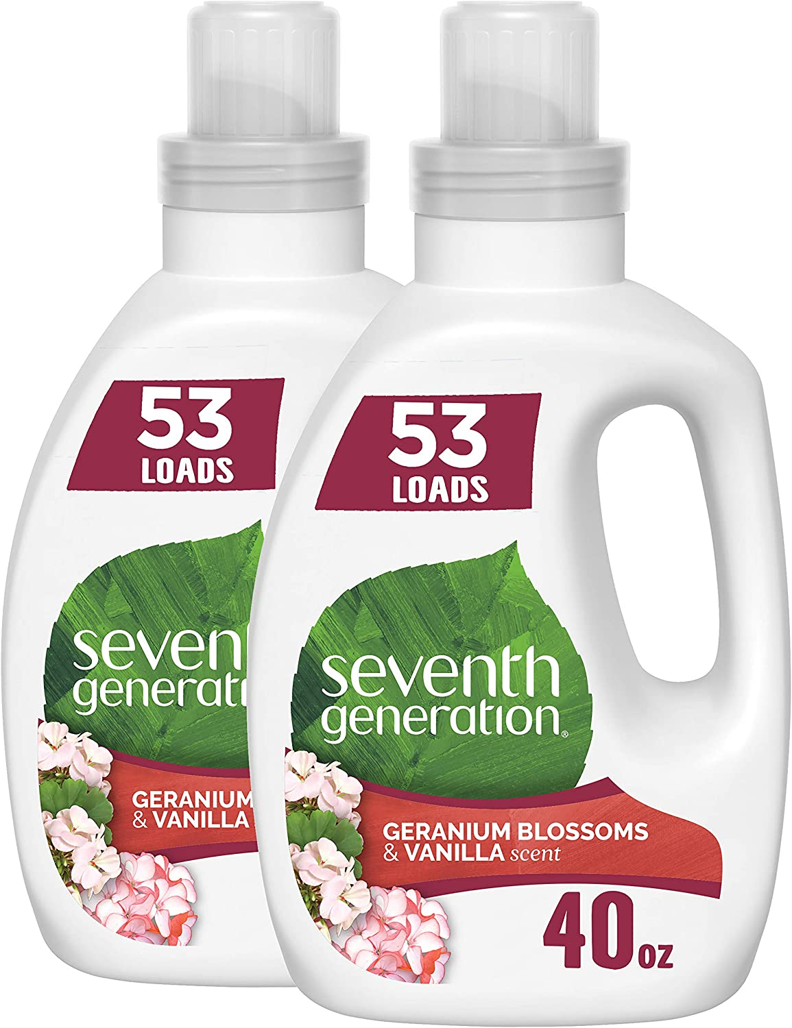 Seventh Generation Concentrated Laundry Detergent, Geranium Blossom & Vanilla, 40 oz, Pack of 2 (106 Loads): Health & Personal Care