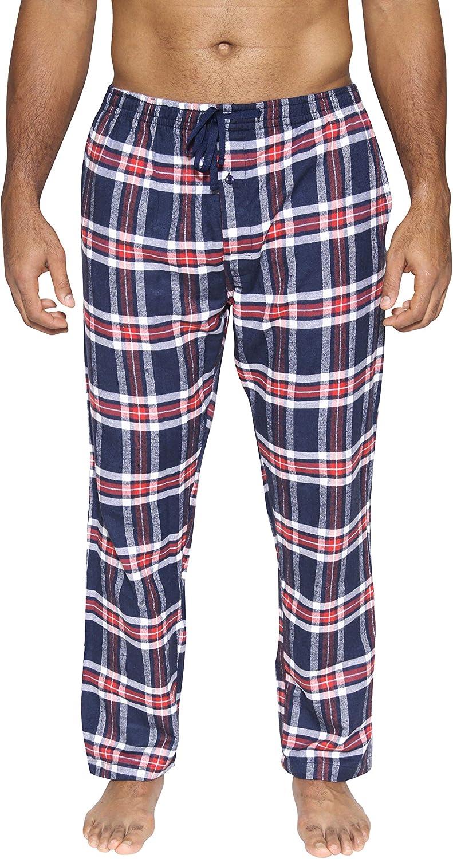 Mens Knit Cotton Flannel Plaid Lounge Bottoms S-3XL Mens Pajama Pants 3 Pack