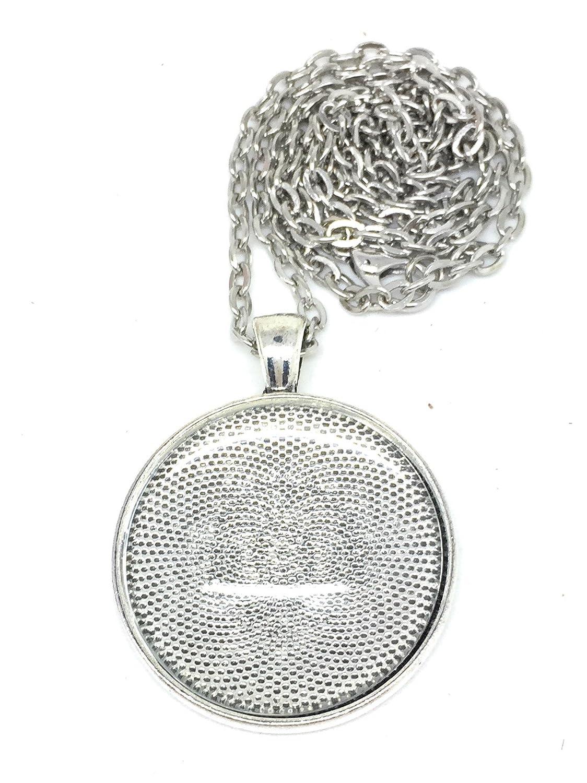 Bastel Express-Medaglione circolare in argento, 33 mm, con ciondolo e cristalli, occhielli, collane e adesivi, Cabochon, 30 mm, per la realizzazione di gioielli e bigiotteria fai da te, colore: argento, confezione da 4 4250983902488