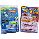 Banjo Minnow 006 - 110 Piece Fishing System + Mighty Bite 5-sense Soft Plastic Fishing Lures/Baits Kits(Perfect Lures Combo)