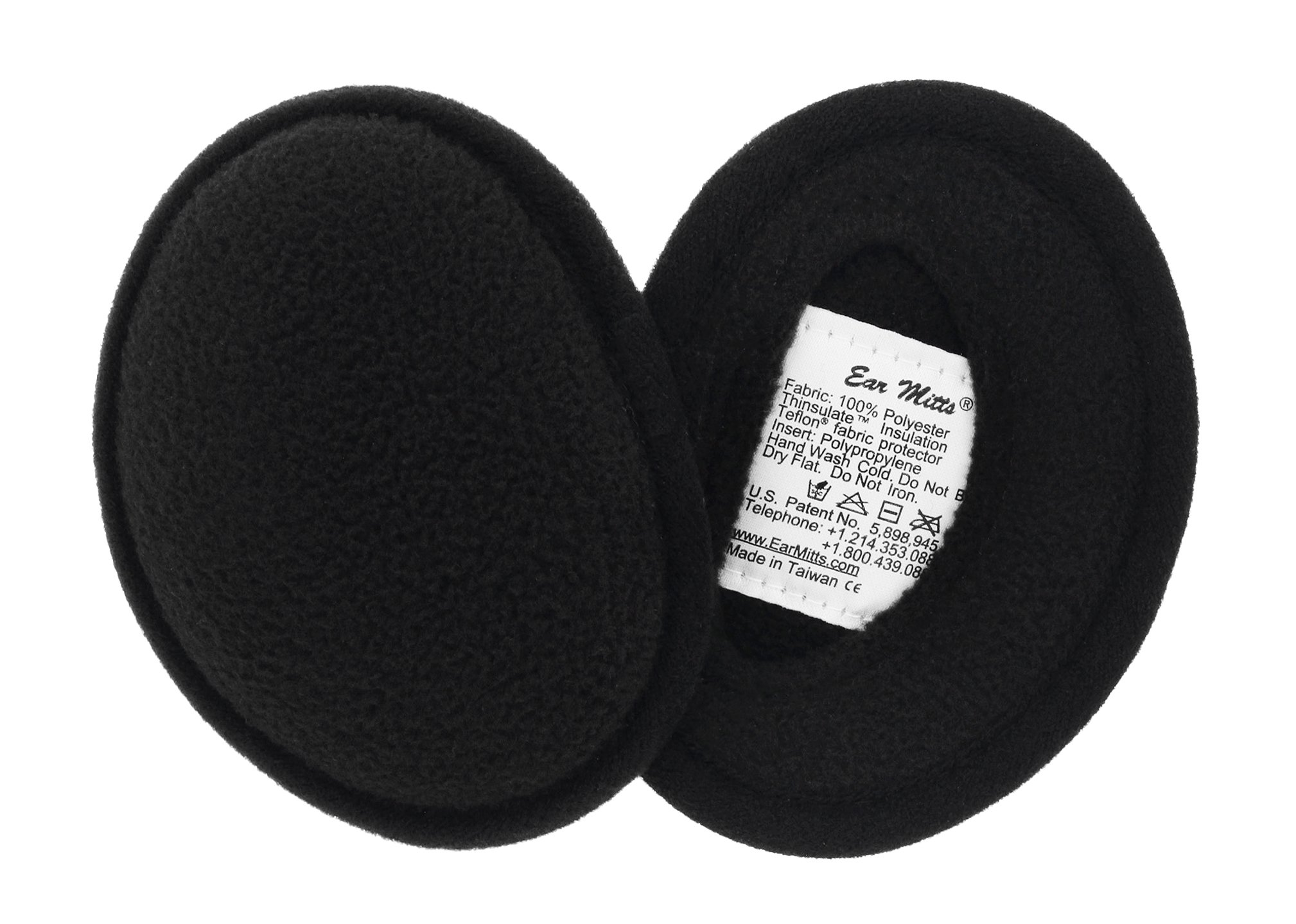 Ear Mitts Bandless Ear Muffs For Men & Women, Black Fleece Ear Warmers, Regular