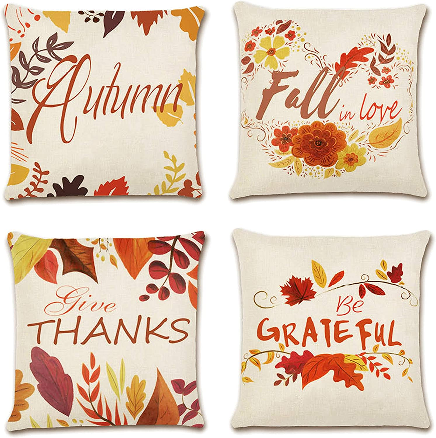 Fall Pillow Covers 18x18 Set of 4 - Autumn Fall Leaves Harvest Design, Thanksgiving Pillow covers, Colorful Decorative Special Fall Quotes Saying, Country Style Home Outdoor Decor Cushion Covers