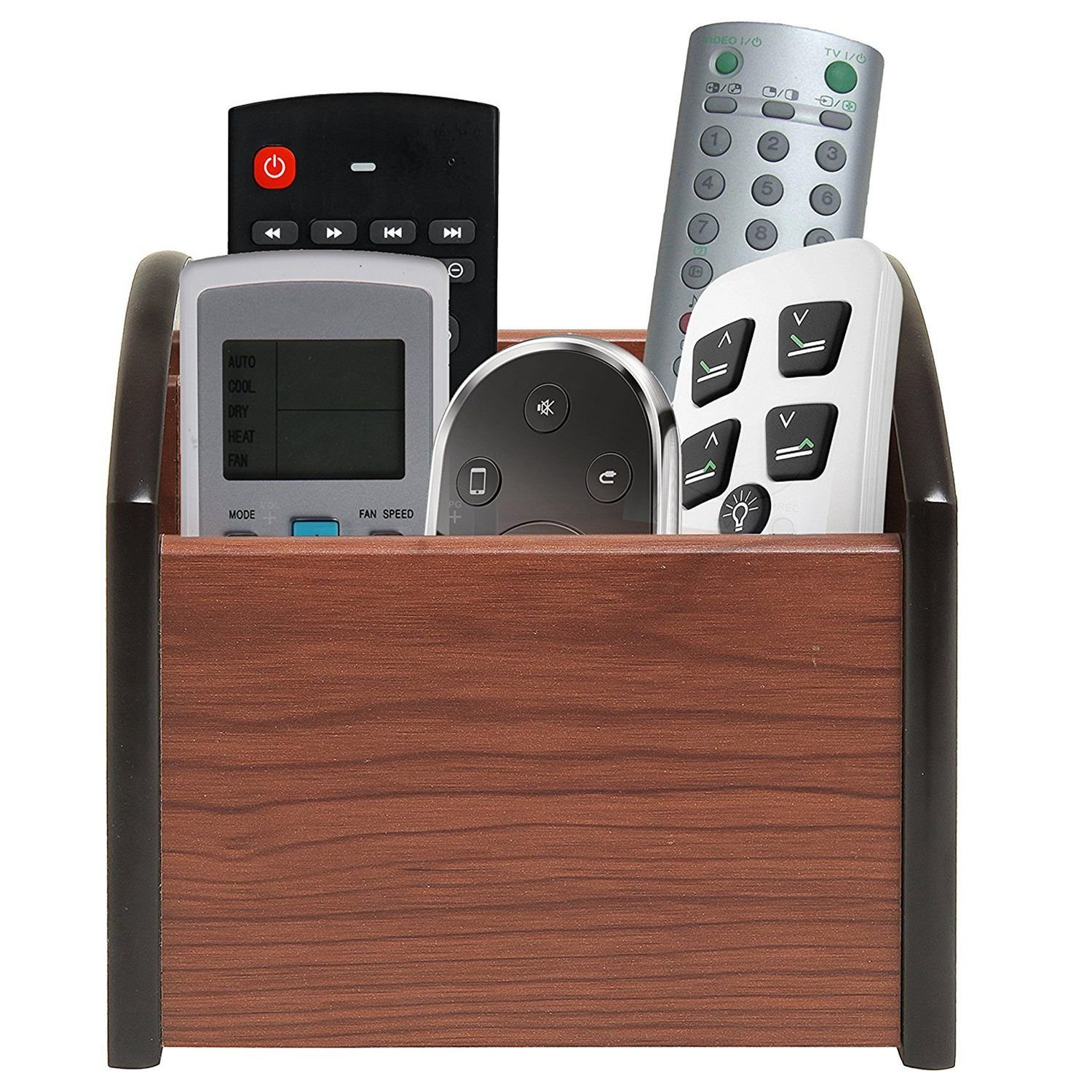 Nrpfell Revolving Wooden 4 Compartment Desktop Office Supplies Storage Organizer/Spinning Remote Control Caddy by Nrpfell (Image #3)