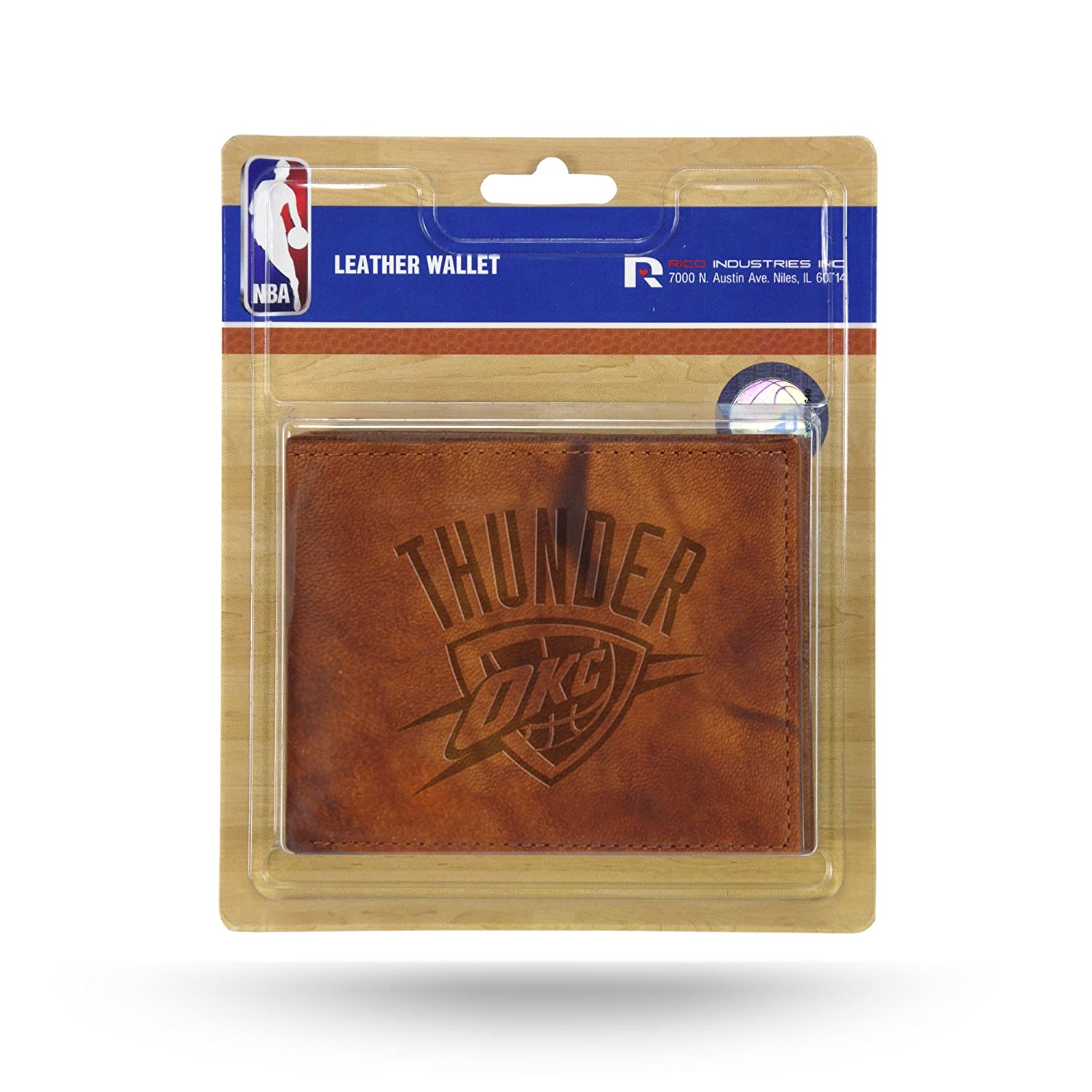 Rico NBA Oklahoma City Thunder Embossed Leather Billfold Wallet with Man Made Interior