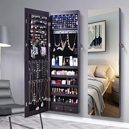 Ordinaire AOOU Jewelry Organizer Jewelry Cabinet, 6 LEDs Full Screen Display View  Larger Mirror, Lockable
