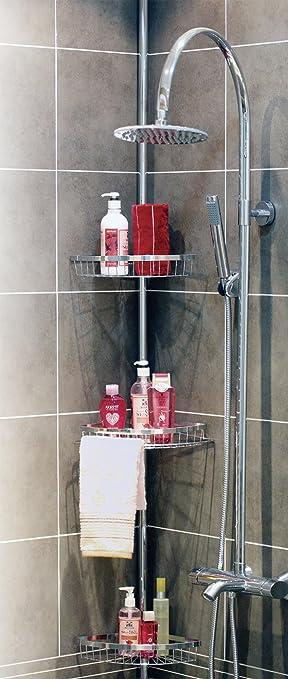 Badewannenregal Aus Rostfreie! Badregal mit 4 Tabletts Duschecke f/ür die Dusche kein Bohren notwendig Teleskop Duschregal H/öhenverstellbar Badezimmer Regal 190-310 cm Badregal Duscheckregal