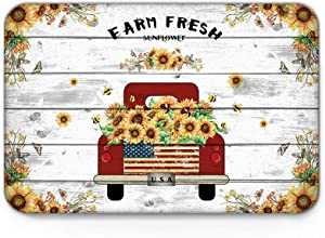 Indoor Doormat Front Door Mat 20'' x 31.5'', Farm Fresh Sunflower Red Truck and Bees Retro Wood Board Absorbent Entrance Rug, Non Slip Bathmat, Dirt Trapper Entry Rugs Machine Washable Welcome Carpet
