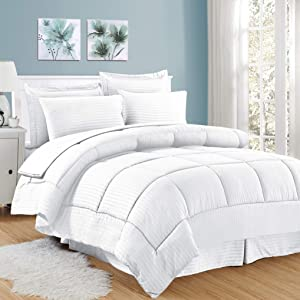 Sweet Home Collection 6 Piece Bed in a Bag with Dobby Stripe Comforter, Sheet Skirt, and Sham Set, Twin, White, 6