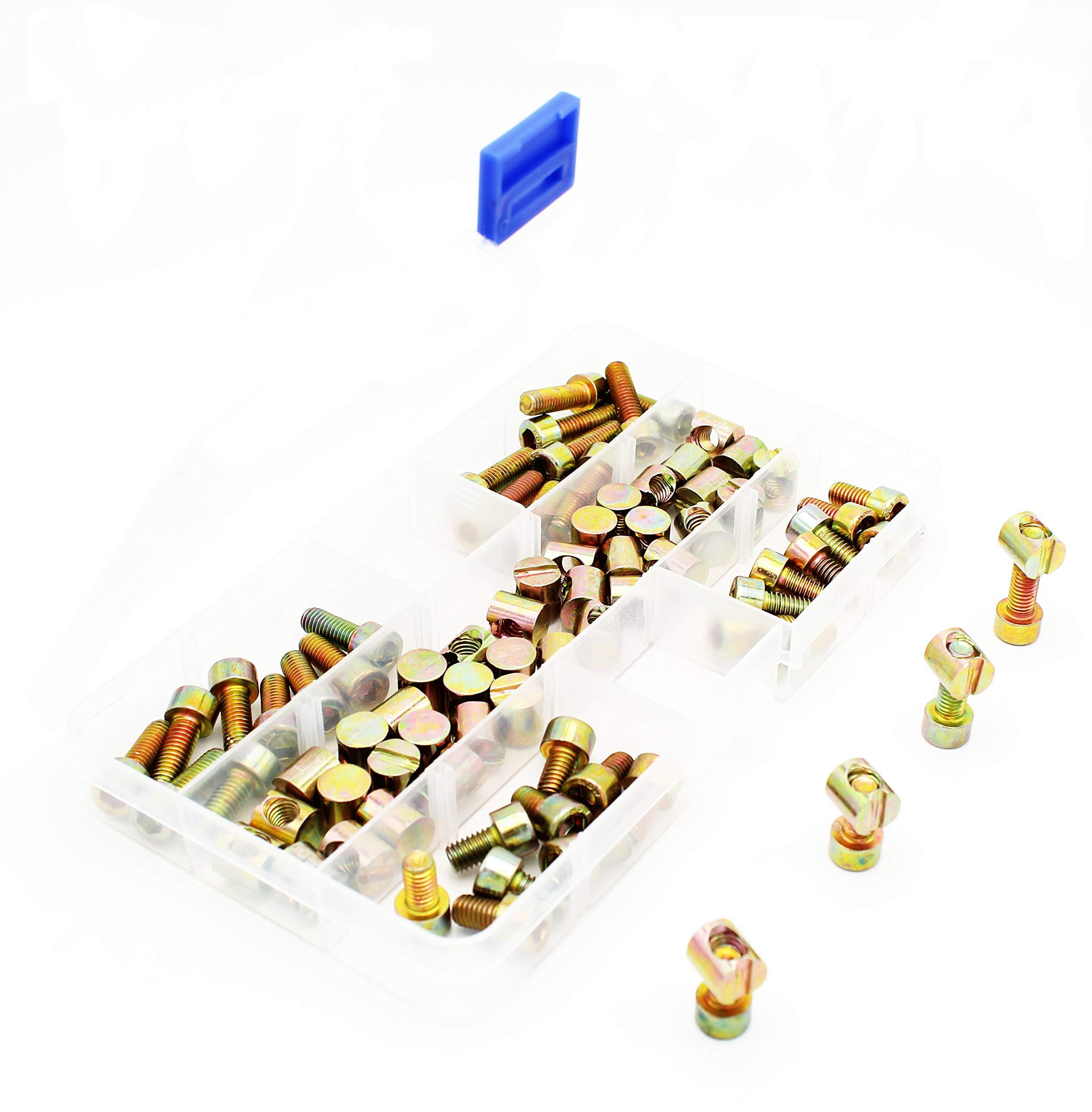 Smartsails (100Pcs) M6 Furniture Bucket Nut Bolt Classification Kit, Crib Hardware Parts,Hexagonal Sleeve M6 x10mm / 12mm /16mm / 20mm Crib Bolt Sleeve Nut 50 Sets