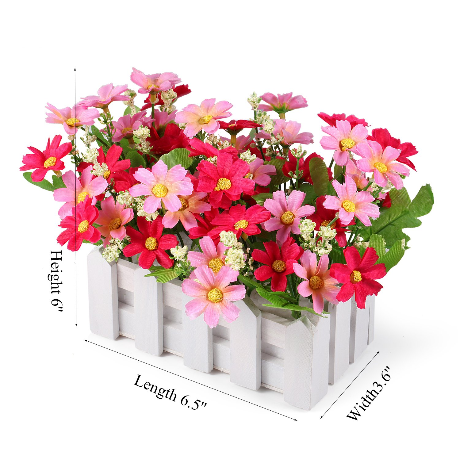 Louis Garden Artificial Flowers Fake Daisy in Picket Fence Pot Pack - Mini Potted Plant (Daisy-Pink) by Louis Garden (Image #4)