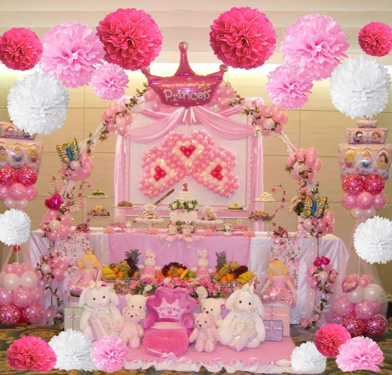 Pompon de papel de seda, bolas de papel en forma de flor para fiestas de cumpleanos, bodas, baby shower, shower de novia o decoracion de festivales, ...