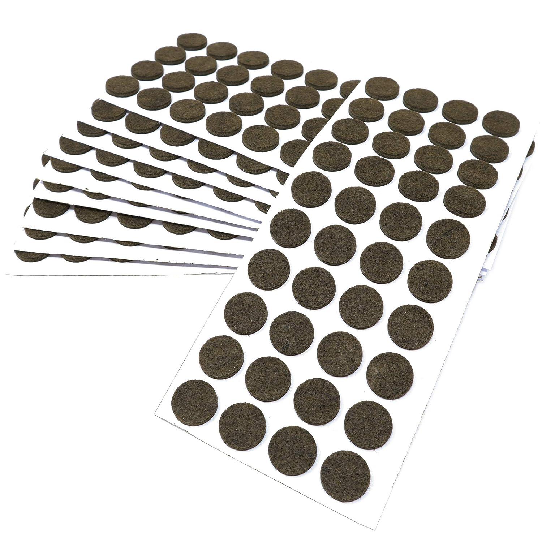 50 x Feltrini | Ø 20 mm | marrone | tondi | Piedini mobili in feltro autoadesivo di 3.5 mm di spessore di alta qualità da Adsamm FP-35-SA-BR