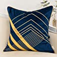 Yangest Navy Blue and Gold Geometric Velvet Throw Pillow Cover Striped Leather Cushion Case Modern Luxury Textured Pillowcase for Sofa Couch Bedroom Living Room Home Decor, 18x18 Inch