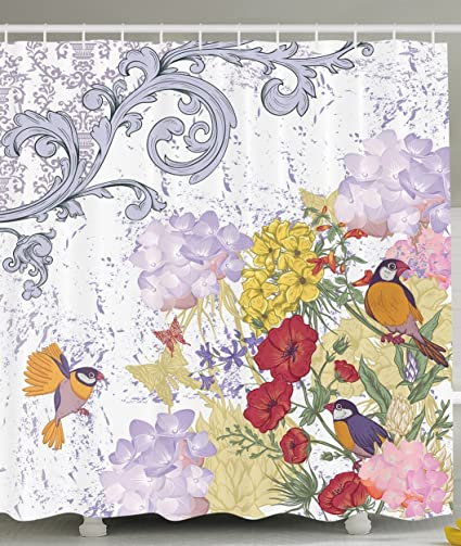 Hydrangeas Greenery Floral Decor Flower Pattern With Birds French Style Vintage And Batik Prints Shower Curtain