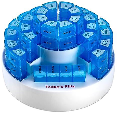 Caja mensual para pastillas MEDca. Organización para medicamentos de múltiples dosis. Compartimientos extraíbles.