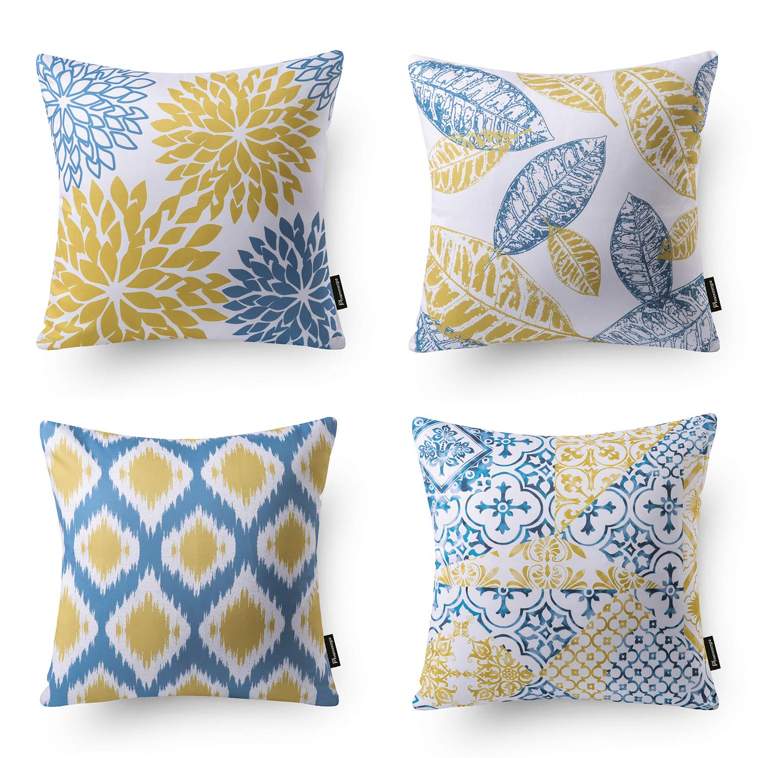 Phantoscope Set of 4 New Living Series Decorative Yellow and Blue Throw Pillow Case Cushion Cover 18 x 18 inches 45 x 45 cm