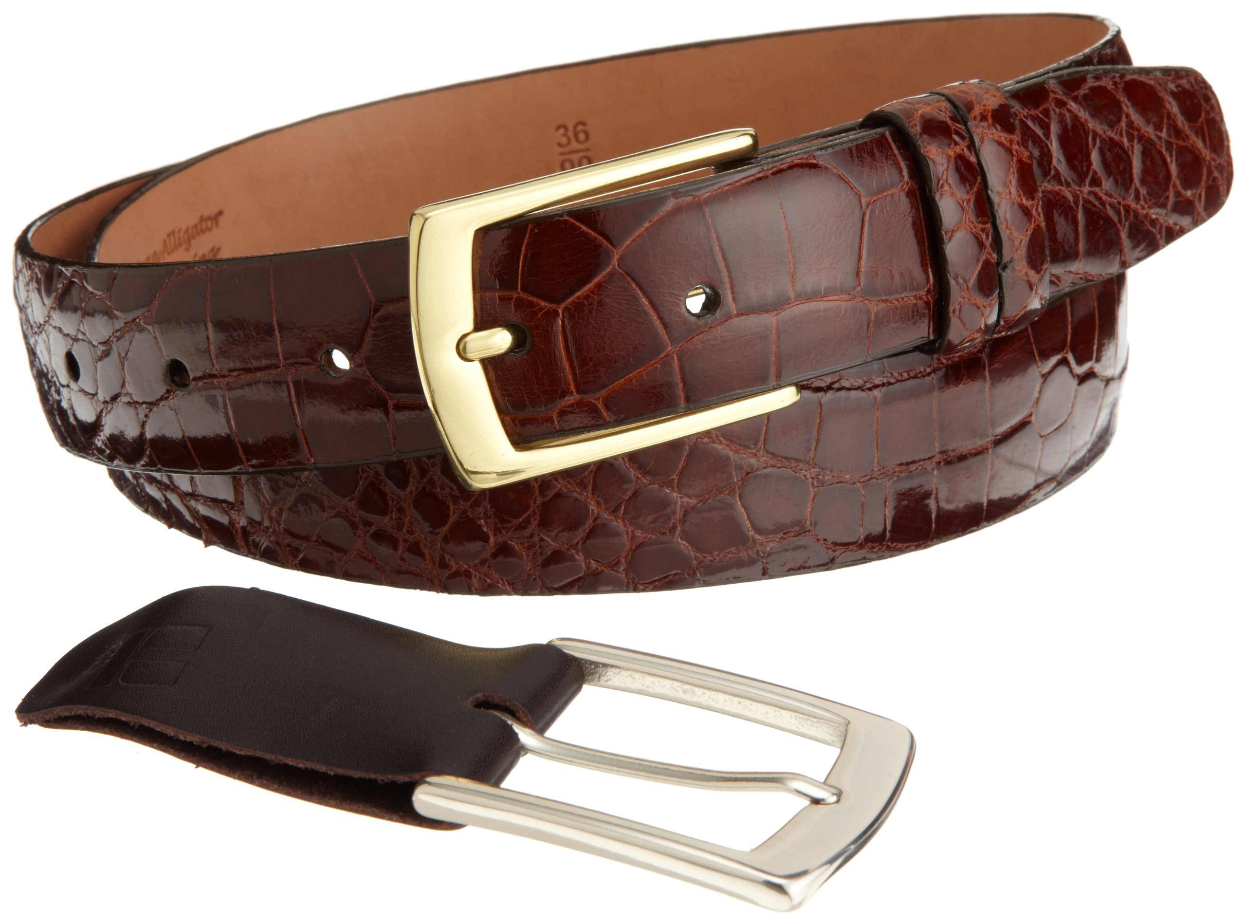 Trafalgar Men's Genuine Alligator Belt,Chestnut,42 by Trafalgar