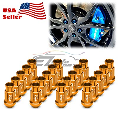 EZAUTOWRAP Gold 20 PCS M12x1.25 Lug Nuts Short 50mm Tuner Open End Aluminum Wheels Rims Cap WN01: Automotive