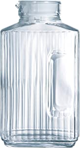 Luminarc Quadro 2-Liter Glass Pitcher with Lid, 67.5 Ounce, Clear/White