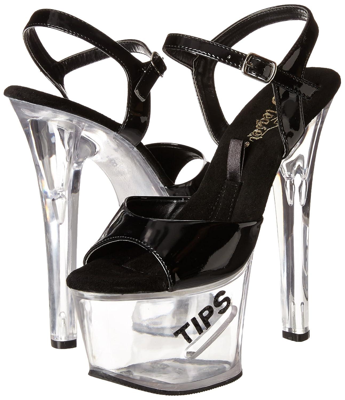Pleaser Women's Tipjar-5/B/BG Platform Sandal B000YQZ01E 14 B(M) US|Black Patent/Clear