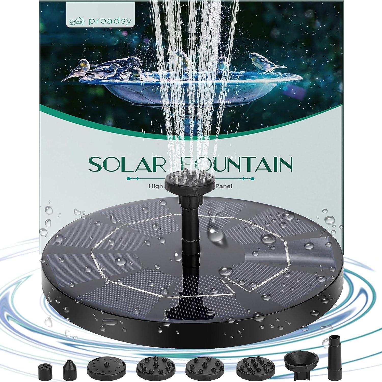 Solar Fountain Kit, Proadsy 3.0W 1200mAh Solar Bird Bath Fountain Pump for Bird Bath, Garden, Pond, Pool, Outdoor, 2020 Upgrade