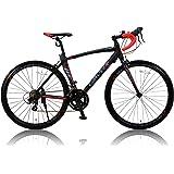 カノーバー ロードバイク   アルミフレーム シマノ14段変速ADOONIS(アドニス)  デュアルコントロールレバー採用 LEDライト標準装備 重量11.7Kg ブラック 700×23C